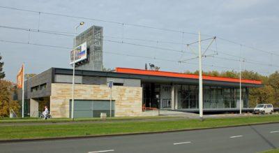 Kunsthal gezien vanaf de Westzeedijk, Rotterdam, ontwerp OMA