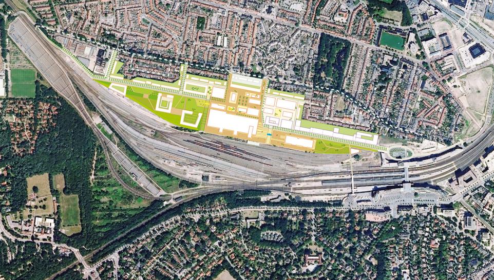 Luchtfoto van het kerngebied Wagenwerkplaats Amersfoort