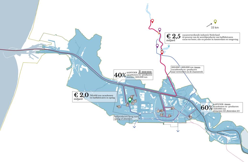 Overzichtskaart van de cacaostromen in-en uit de haven van Amsterdam