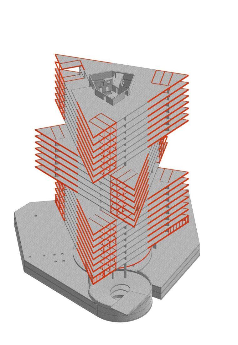 constructietekening nhow hotel OMA