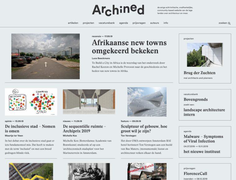 Archined screenshot Homepage 2019