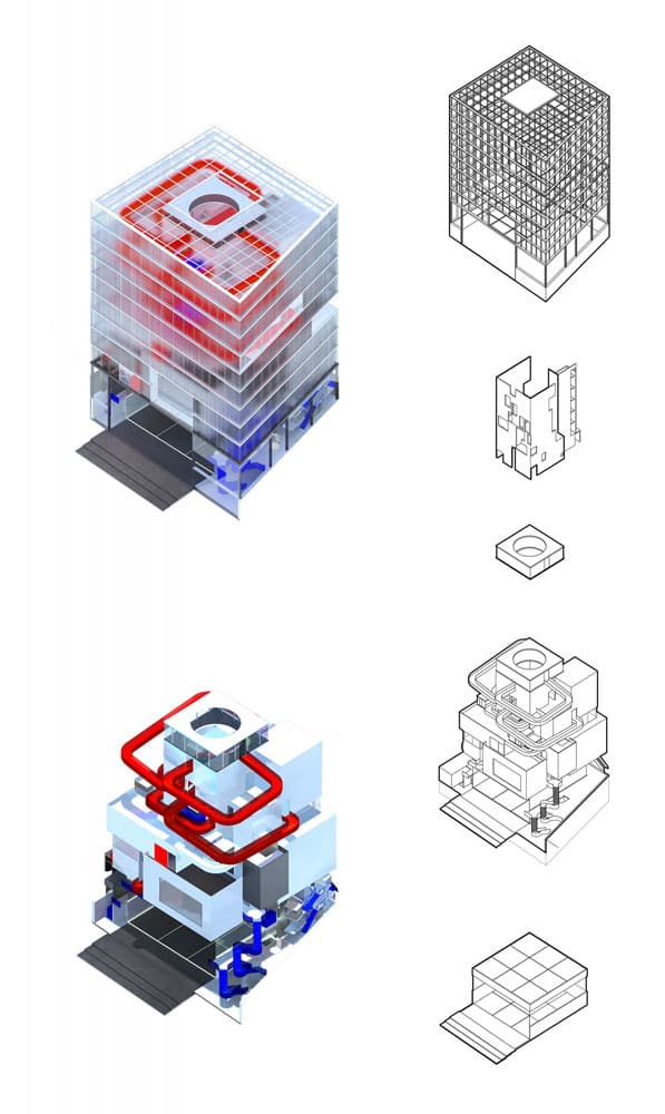 Components of the design, top to bottom: structure, core, score room, game spaces, LAN Arena