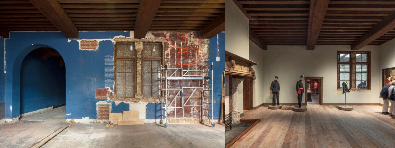 Museum De Lakenhal, zaal voor en na de verbouwing door HCVA