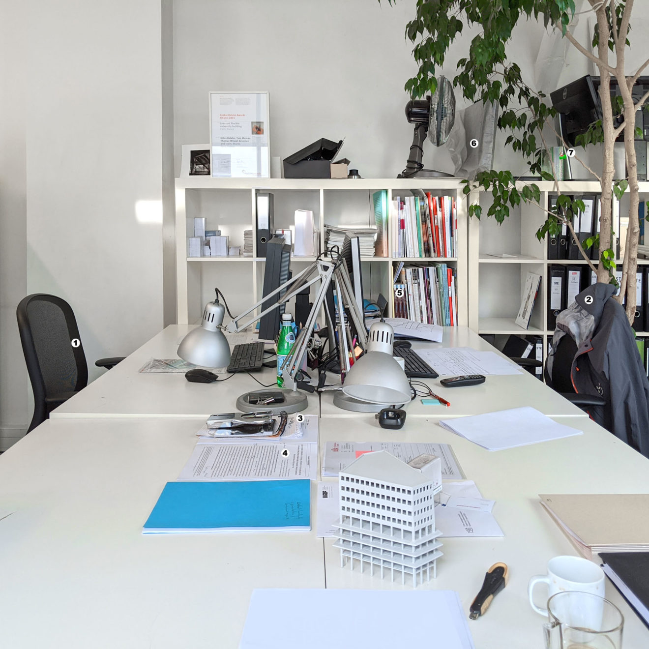 the desks of Yves and Gilles