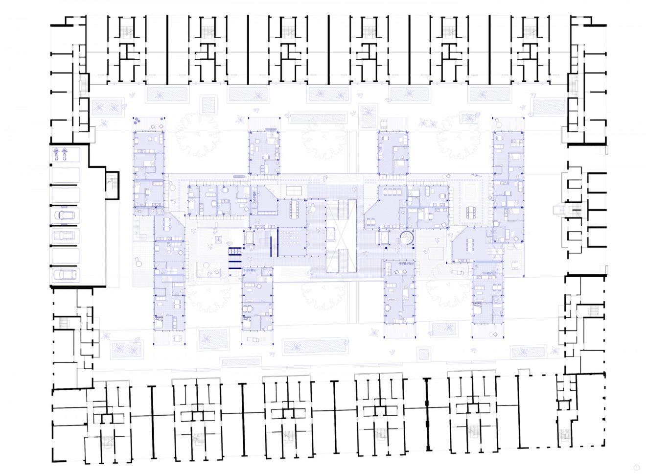 plattegrond collectief deck afstudeerproject Expeditie Rotterdam van Hedwig van der Linden