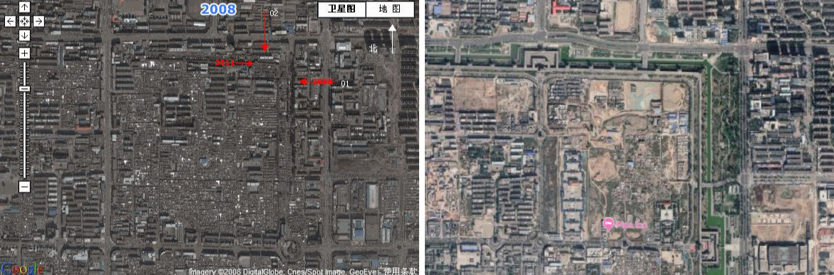 Datong stadsmuur voor in 2008 (links) en na in 2016 (rechts)