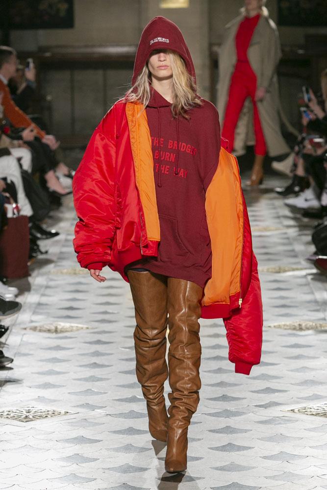 model met Vetements hoodie