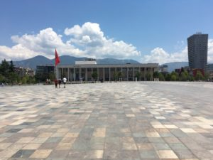 Tirana - Skanderbeg Square, monumentality of adjoining buildings