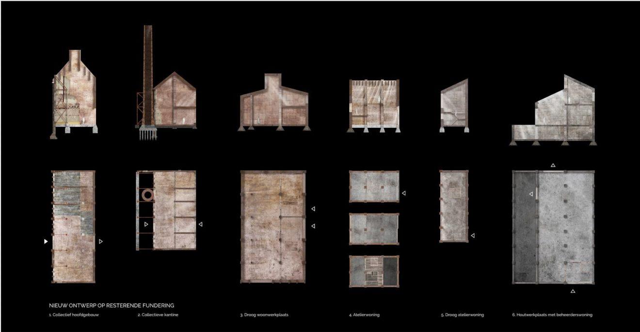 Plattegronden en doorsneden van werkplaatswoningen en collectieve ruimten