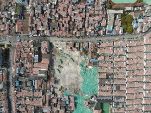 drone foto van afbraak oude volksbuurt in Shanghai