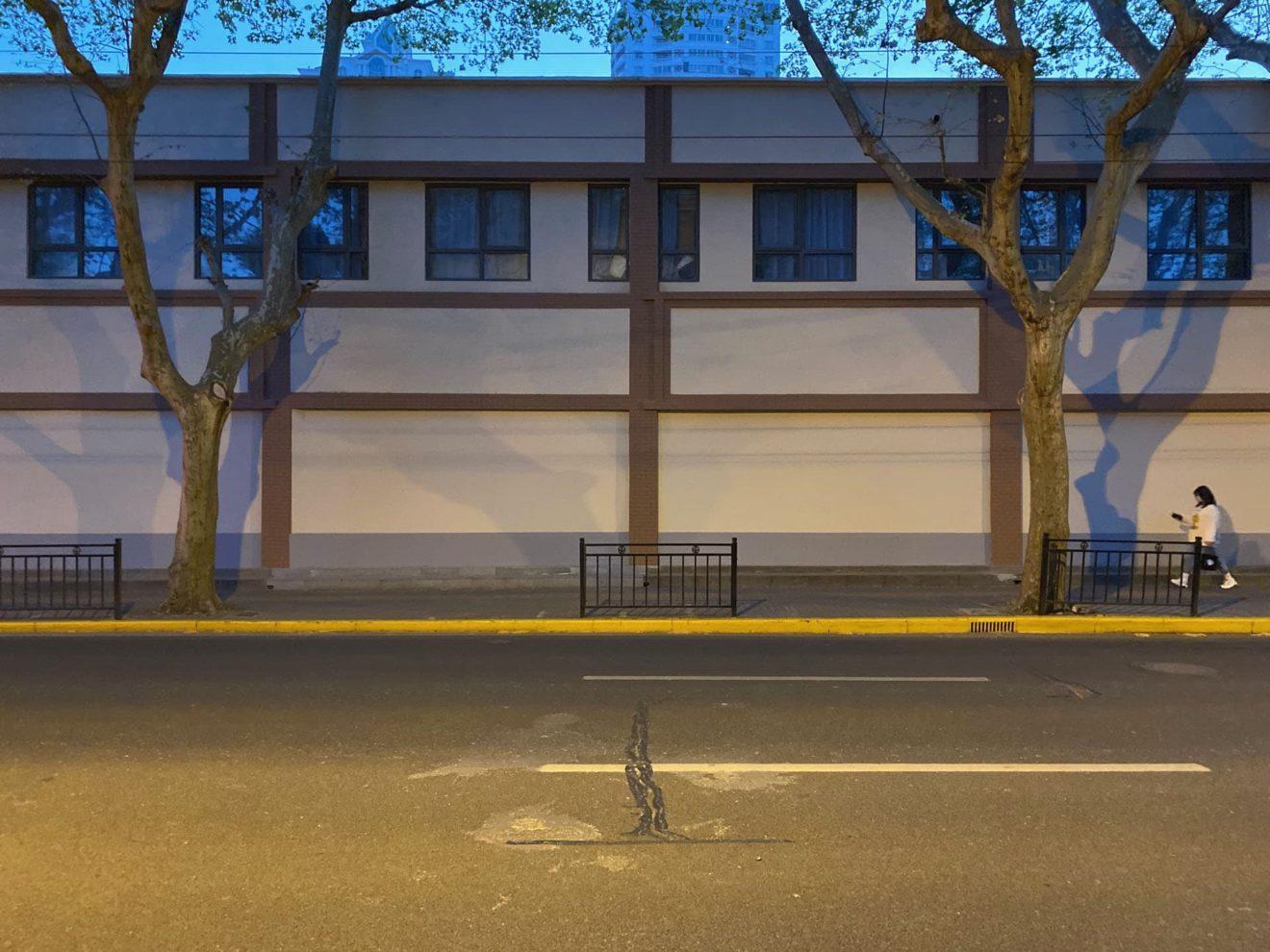 straatbeeld Shanghai zonder informele activiteiten