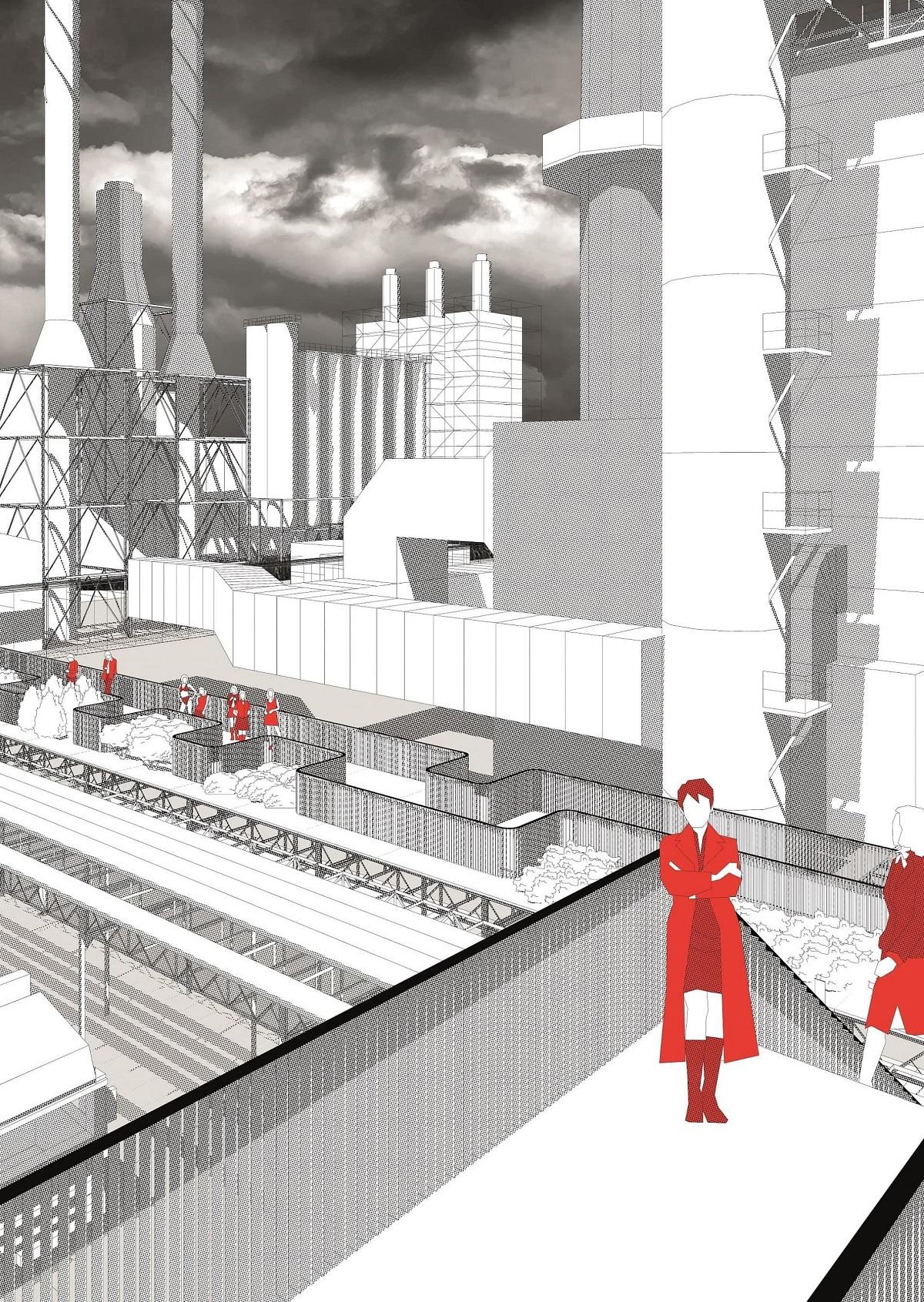 De industriële installaties van Shell verwerven een architectonische laag die communiceert met het nieuwe publiek