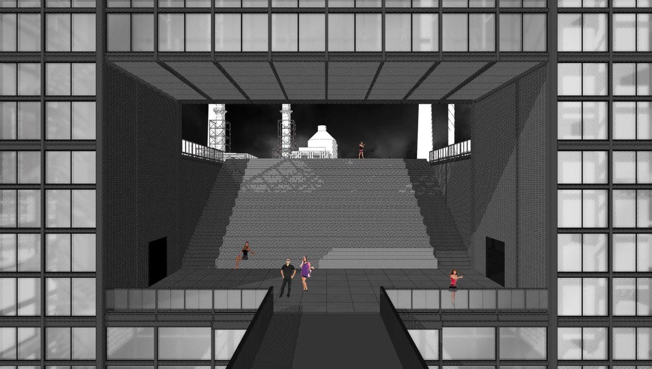 Een dramatische publieke tribune trap die leidt naar het podium.