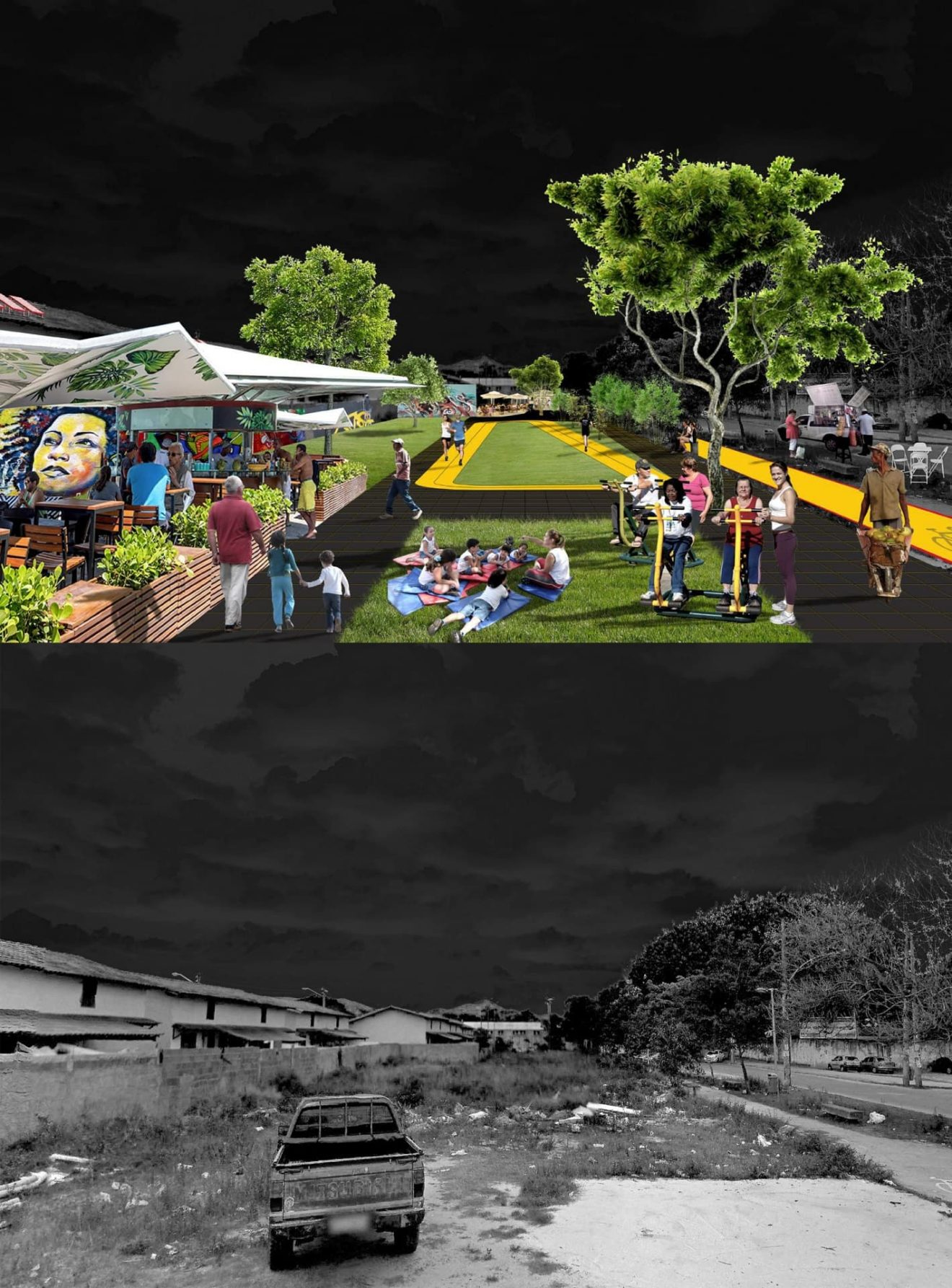 Adaptation of undeveloped plots into public spaces that increase social interaction and attract commercial activities.
