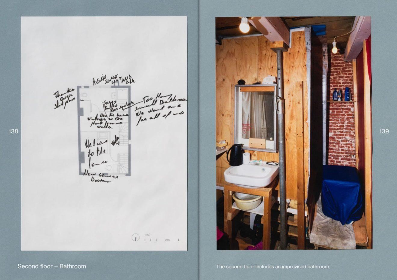 plattegrond en foto badkamer Wijde Heisteeg, Amsterdam