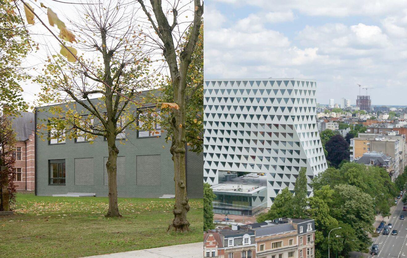 Links: Bestuurs- en Dienstencentrum Sint-Gillis-Waas van architecten Els Claessens en Tania Vandenbrussche / Rechts: Provinciehuis Antwerpen van Xavier De Geyter Architects