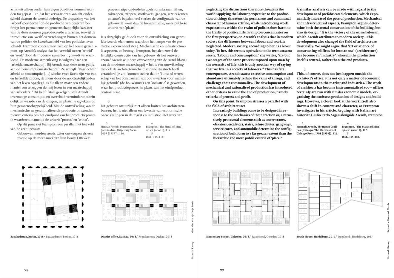 spread uit OASE #106 Tafelschikkingen – Reflecties op architectuur met Hannah Arendt