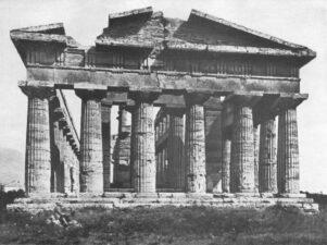 Westgevel van de Poseidontempel in Paestum, uit Der Dorische Tempel