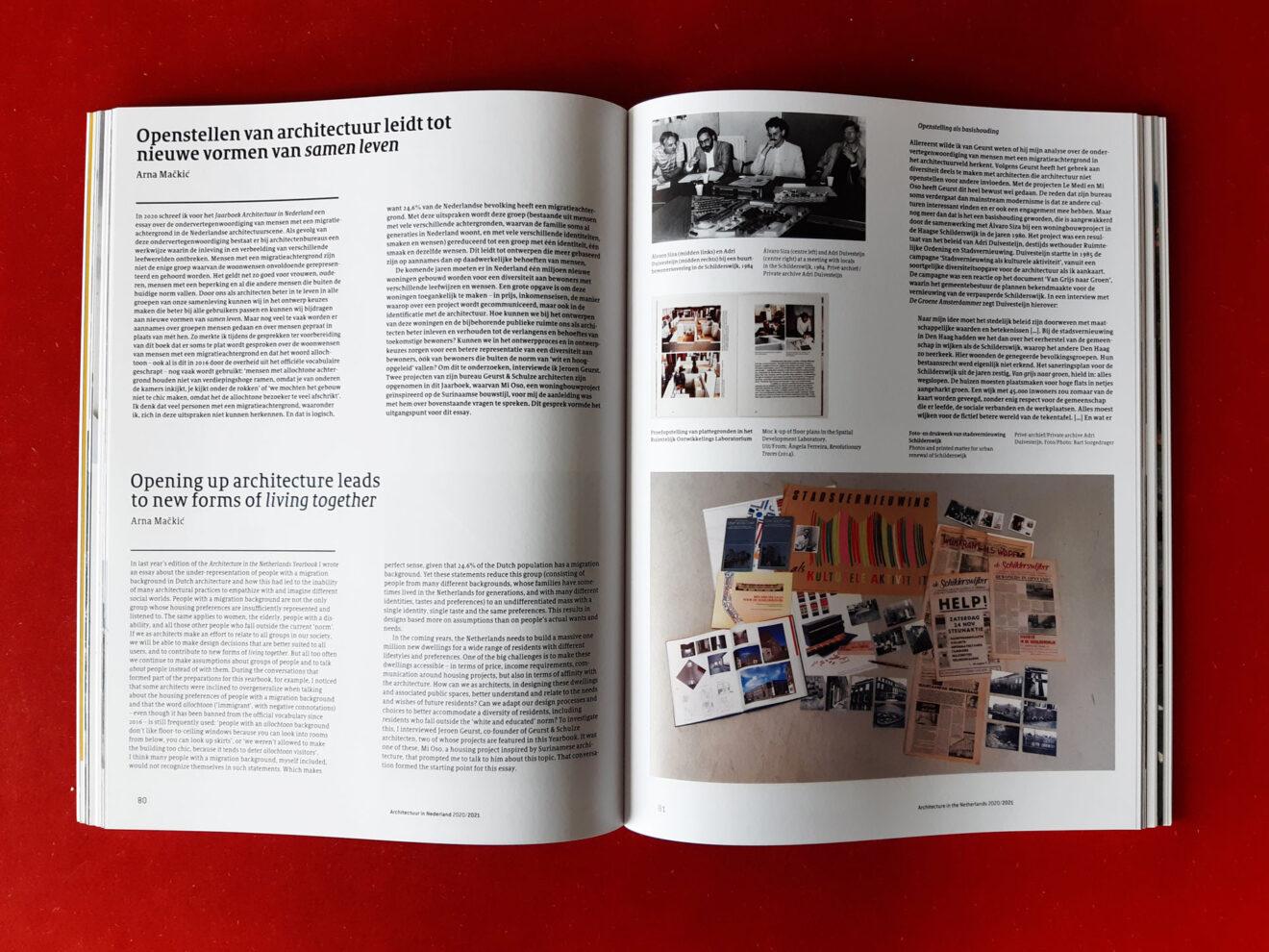 spread uit Architectuur in Nederland 2020 / 2021 Jaarboek